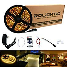 RoLightic LED Light Strip 16.4ft 300leds Warm White 3000K 3528 Led Tape Lights Full Kit with 11key RF Remote Controller & 2A Power Supply for Home Lighting, Kitchen, Indoor Decoration (Warm White)