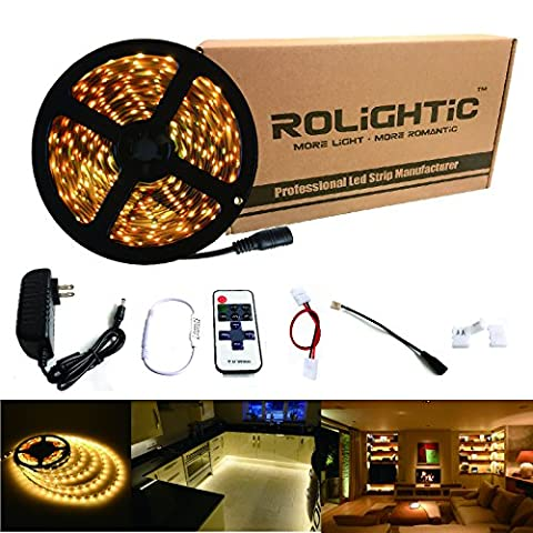 RoLightic LED Strip Light 16.4ft 300leds Warm White 3000K 3528 Led Tape Lights Full Kit with RF Remote Dimmer & 2A Power Supply for Home Lighting, Indoor Decoration (Warm White)