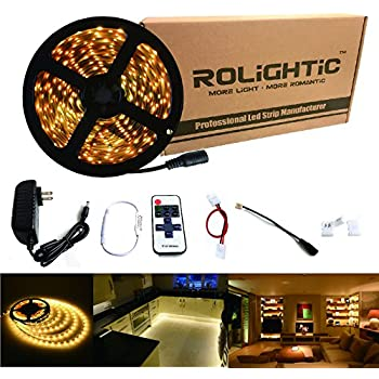 Amazon hitlights warm white led light strip kit 164 feet rolightic led strip light 164ft 300leds warm white 3000k 3528 led tape lights full kit with rf remote dimmer 2a power supply for home lighting mozeypictures Choice Image