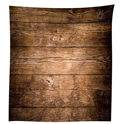 QCWN Wood Grain Tablecloth,Brown Wooden Retro Boho Style Tablecloth,Dining Room Kitchen Rectangular Table Cover.Brown55x78Inch (Table Brown Covers)
