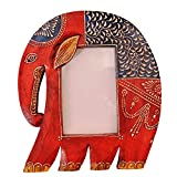 Purpledip Wooden Photoframe: Handpainted Elephant Shape Picture Frame (11365)