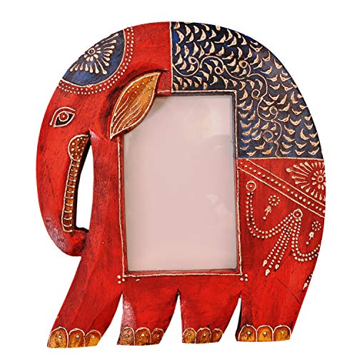 Purpledip Wooden Photoframe: Handpainted Elephant Shape Picture Frame (11365) by Purpledip