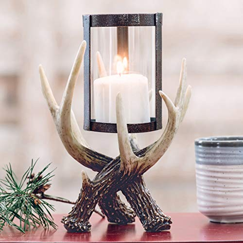 BLACK FOREST DECOR Antler Hurricane Candle Holder