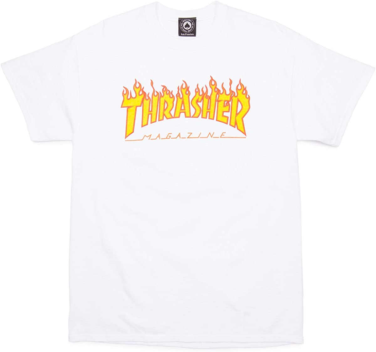 White Thrasher Skateboard Magazine Flame T-Shirt