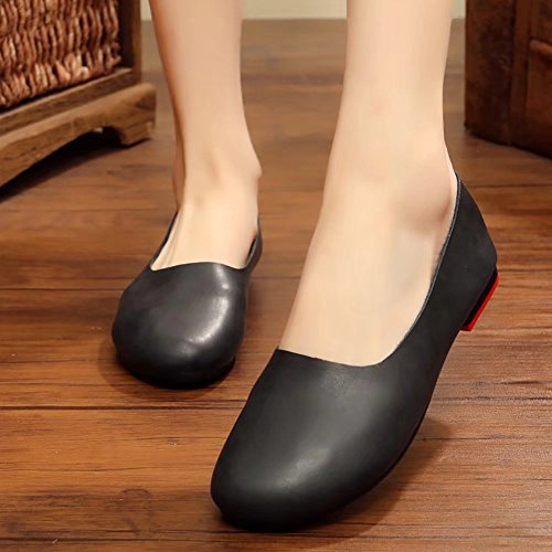 Off UP Genuine Black Leather To 55 B Ballet Comfort Shoes Kunsto Glove Womens Flat Anxq8wg7P5