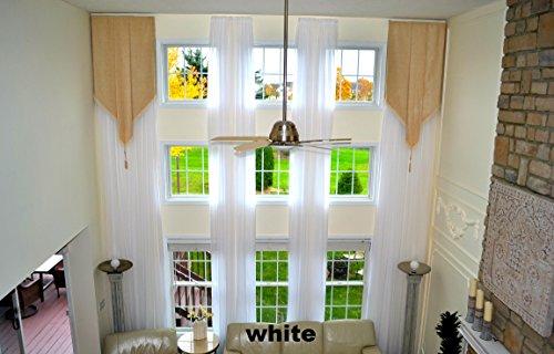 18' Custom Panel - Ikiriska 2 Long Curtains for high Ceiling, Custom Made Length 16-24 feet Drapes (White)