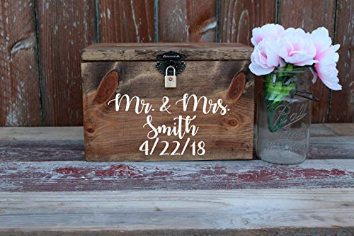 Wedding Card Box Chest Shabby Chic Espresso Color Engraved Personalized Front Holds Wedding cards with Slit and ()
