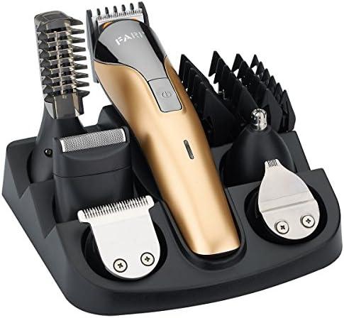 FARI Multigroom-Set für Gesicht, Haare und Körper, Bartschneider und Haarschneider für Männer, 11 Aufsätze (gold/metal)