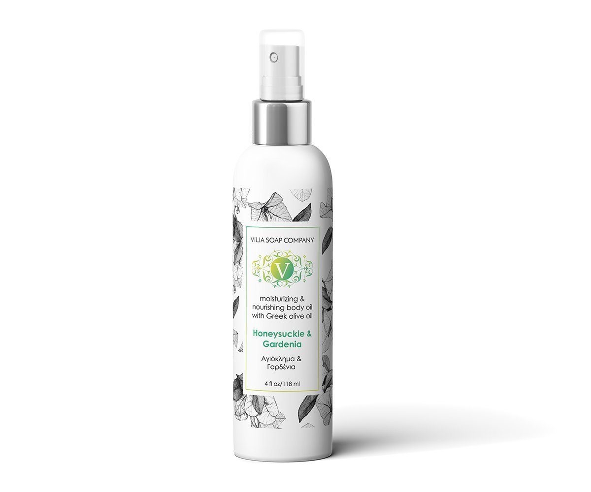 NOURISHING HONEYSUCKLE & GARDENIA BODY OIL. MADE WITH EXTRA VIRGIN GREEK OLIVE OIL. FREE FROM SULFATES, PARABENS, SILICONES, PHTHALATES, MINERAL OIL, PETROLEUM.