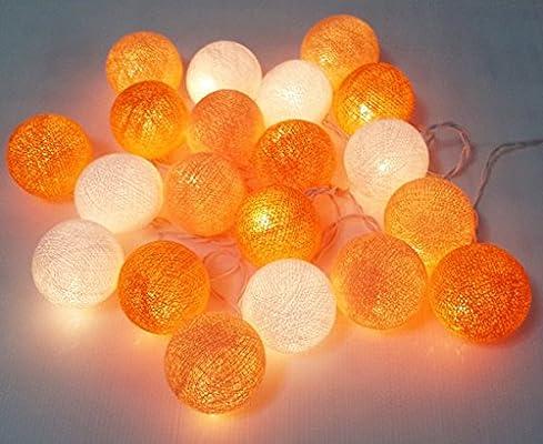 Guirnalda de luces LED naranja tono algodón bola 20 parte hecho a mano para habitación de los niños: Amazon.es: Hogar
