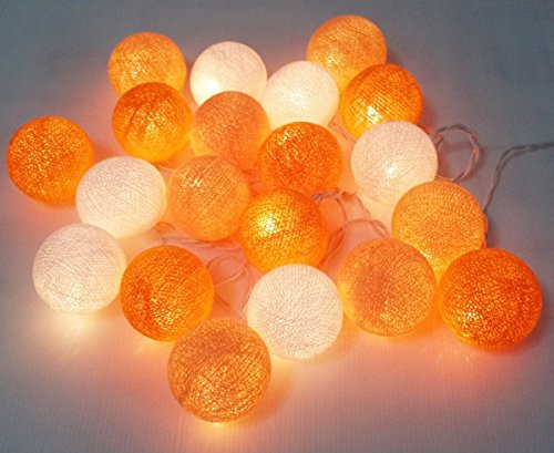 String Lights Orange Tone Cotton Ball 20 Party Handmade for Kids Room (Bird Feeder Barcelona)
