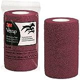 3M Vetrap Bulk 4'' Bold Color Bandaging Tape, 4'' x 5 Yards (Burgundy, 100 Rolls)