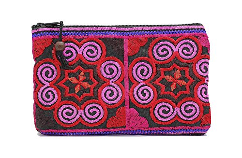 Sabai Jai Coin Purse Handmade Small Embroidered Ethnic Boho Bag with Beads – Stylish Spiral Pattern Bag for Girls Carry Cash Cards Coins (Pink/Red)