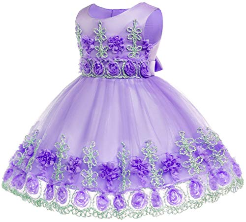 Toddler Baby Girls Flower Applique Christing Pageant Birthday Party Baptismal -