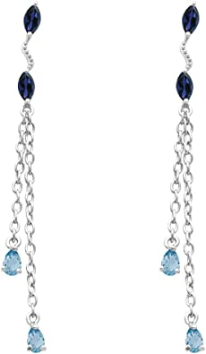 Orchid Jewelry Sterling Silver Earrings | Blue Sapphire & Aquamarine Hypoallergenic Chain Earring Sets For Women | Birthstone Gemstones Dangle Unique Presents For Cute Girls | 2.12 Ct - Marquise Shape