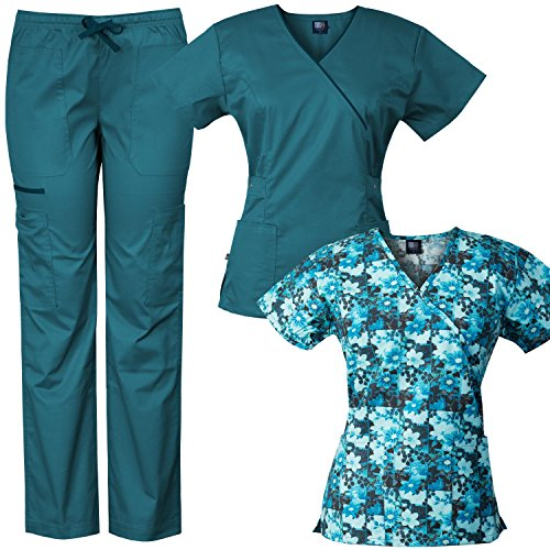 Medgear 3-Piece Eversoft Stretch Scrubs Set with Printed Top Combo 7896ST