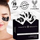 Activated Charcoal Hyaluronic Acid Eye Black Mask | Anti Aging Patch Treatment for Dark Circles and Puffy Eyes | Hydrating Collagen Eye Mask |20 Pairs