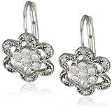 Betsey Johnson Mini Silver Pave Flower Drop Earrings