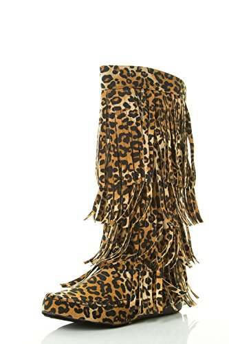 (AXNY Women's Layered Fringe Detail Mid Calf Flat Moccasin Boot 8.5 Leopard)