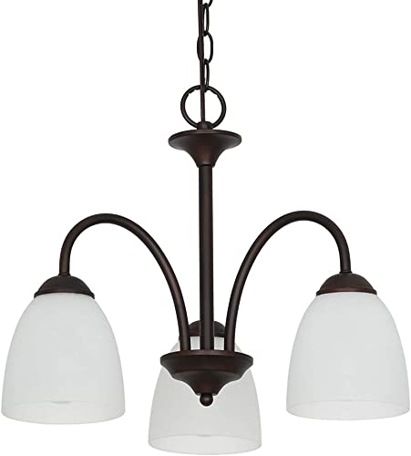Ravenna Home Classic 3 Light Chandelier, Bulbs Included, Adjustable 15-72 H, Dark Bronze