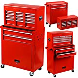 Händewerk Portable Top Chest Tool Storage Box Cabinet Sliding Drawers 2pcs Rolling Toolbox Organizer