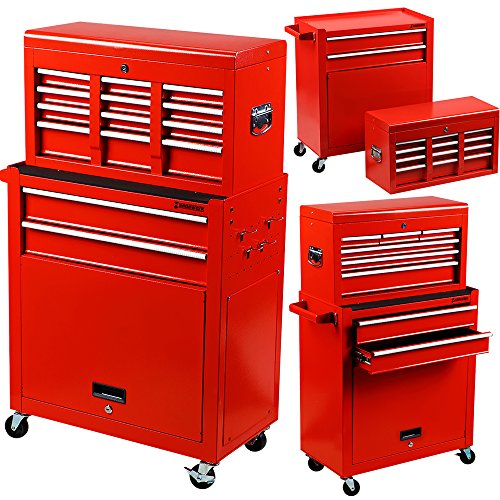 Händewerk Portable Top Chest Tool Storage Box Cabinet Sliding Drawers 2pcs Rolling Toolbox Organizer - 2 Door Top Storage Cabinet