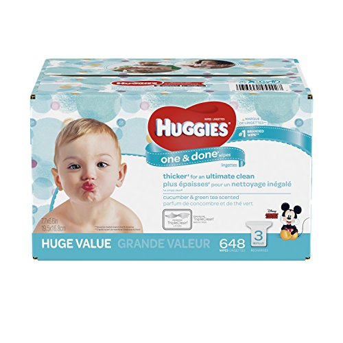HUGGIES One and Done Refreshing Baby Wipes, 3 Refill Packs (648 Sheets Total), Scented, Alcohol-free, Hypoallergenic from HUGGIES
