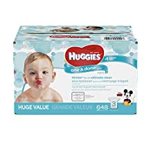 HUGGIES One and Done Refreshing Baby Wipes, Refill Pack (3-Pack, 648 Sheets Total), Scented, Alcohol-free, Hypoallergenic