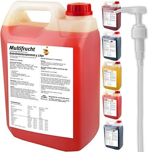 C.P. Sports Getränkekonzentrat 5 Liter Getränke Sirup Electrolyte Mineral-Vitamin Konzentrat versch. Sorten inkl. DOSIERSPENDER mit L-Carnitin (Maracuja)
