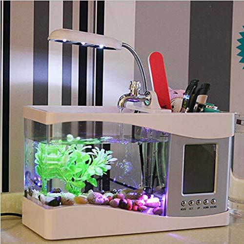 DXINMR Acuario Multifuncional Simple y con Estilo Mini Tipo Fish Tank Lámpara de luz Nocturna Tazón-Blanco: Amazon.es: Hogar