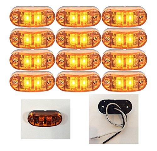 12v LED Amber Side Marker Light Front Rear Indicator Lamp for Truck Trailer RV 12V/24V (12):
