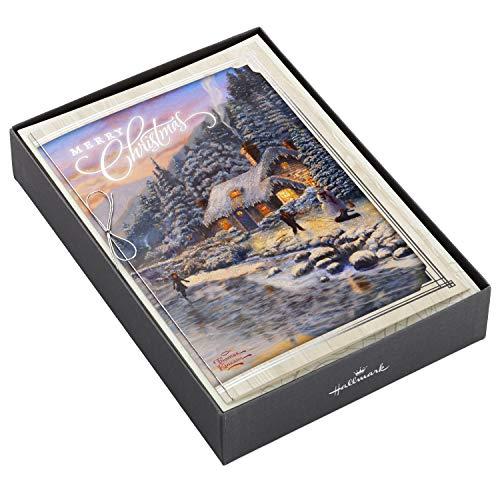 Hallmark Thomas Kinkade Christmas Boxed Cards, Mountain Cottage (12 Cards and 13 Envelopes)