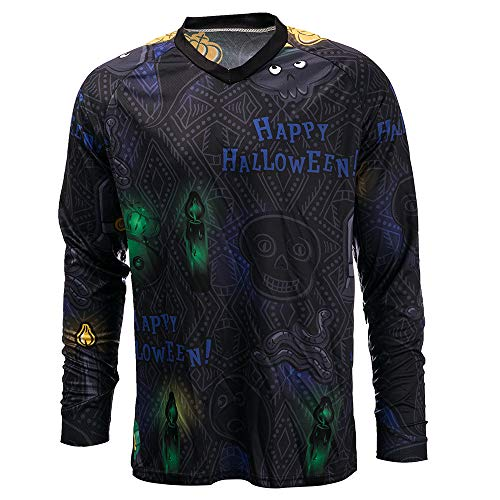 Happy Halloween L (Cycling Jersey Men Long Sleeve MTB T Shirt Mountain Bike Motorcycle Bicycle Clothes Happy Halloween Size)