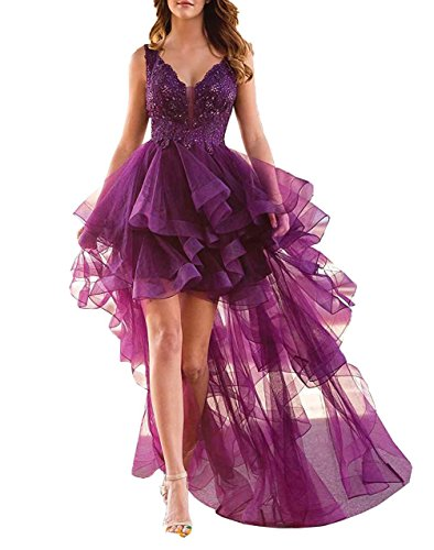 Gown Aurora Prom (Aurora Bridal Women's Tulle High Low Homecoming Dresses 2018 Short Prom Gown for Juniors Size 2 Purple)