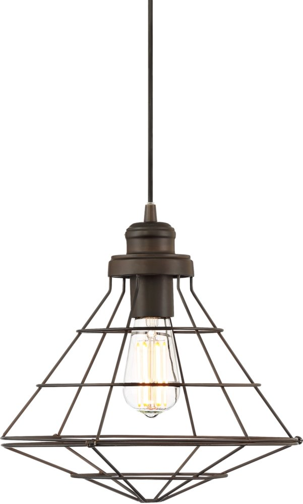 Sherman 12'' Wide Bronze Cage LED Mini Pendant by Franklin Iron Works