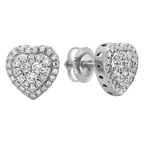 Round Shaped Heart Diamond Earrings - Dazzlingrock Collection 0.50 Carat (ctw) 18K Round White Diamond Ladies Heart Shaped Stud Earrings 1/2 CT, White Gold