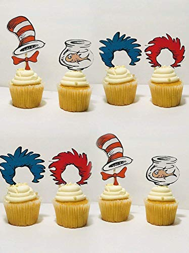 Dr Seuss Cat in the Hat Cupcake toppers/Dr Seuss theme/Cat in the hat party/Cat in the Hat Party Supplies/Dr Seuss