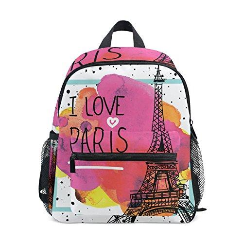 (U LIFE Vintage Paris Eiffel Tower Kids Backpack Bookbag Shoulder Schoolbag for Girls Boys)