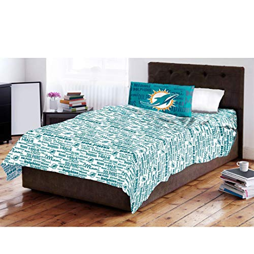The Northwest Company NFL Miami Dolphins Sheet Set Anthem Twin Bed (Dolphin Twin Bed Set)