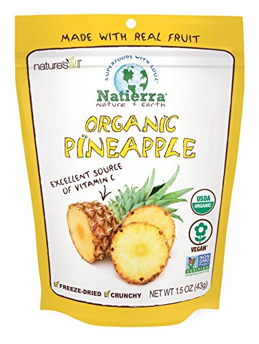 Natierra Nature's All Foods Organic Freeze-Dried Pineapples, 1.5 Ounce