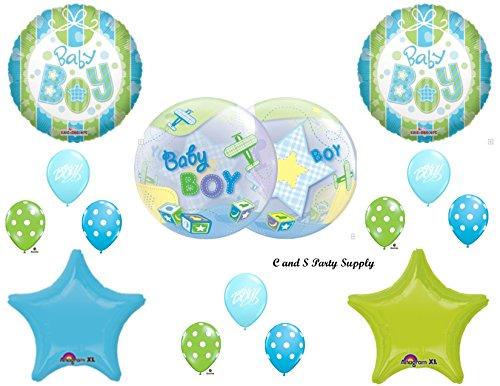 Boy Blocks Baby Shower (IT'S A BOY AIRPLANE & BLOCKS BABY SHOWER Balloons Decorations Supplies)