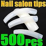 DANCINGNAIL 500pcs White UV Gel French Acrylic False Nail Art Salon Extra long Tips
