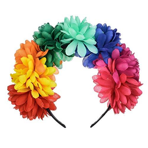 DreamLily Frida Kahlo Mexican Flower Crown Headband Halloween Party Costume Dia de Los Muertos Headpiece NC25 (B-Colorful) -