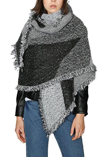 (Urban CoCo Women's Cozy Color Block Long Shawl Wrap (gray black-Model A),One Size)
