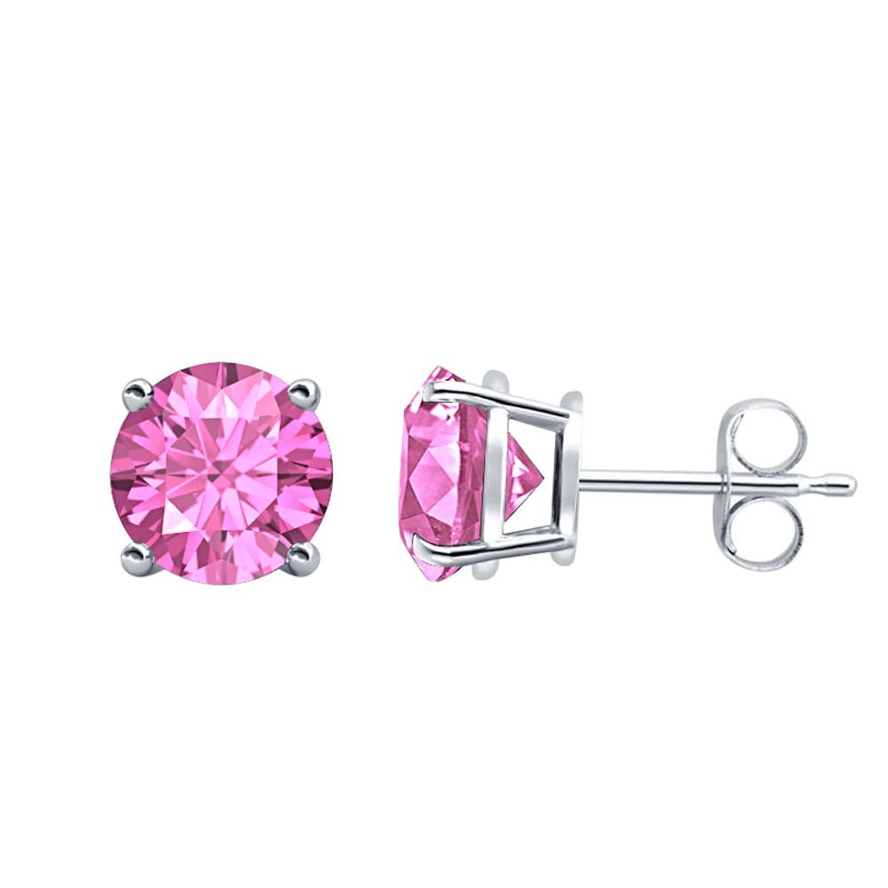 Fancy Party Wear Round Cut Pink Sapphire Solitaire Stud Earrings 14K White Gold Over .925 Sterling Silver For Womens /& Girls 3MM TO 10MM