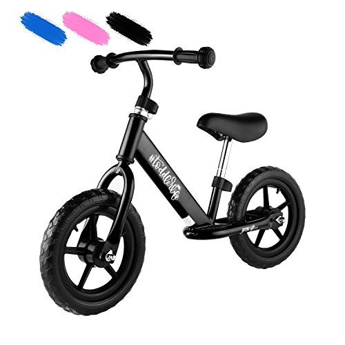 Kaluo 12 Baby Children Sport Balance Bike No Pedal Toddler Walking Bicycle with Adjustable Handlebar and Seat, Carbon Steel Frame Balance Bike for Kids Boys Girls Ages 18 Months to 5 Years (Black) - Carbon Steel Handlebars