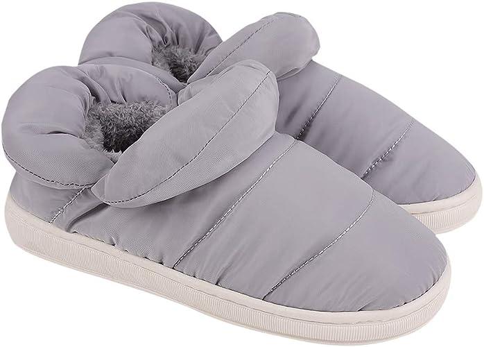 YJZQ Femme Chaussons Hiver Pantoufles D'intérieu Homme Mule Maison Chaud Chaussures Imperméables Pantoufle Chaleureux Chausson Antidérapante