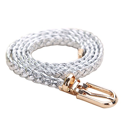 Bluelans® Women's Braided PU Leather Slim Waist Belt All Match Waistband with (Skinny Braided Belt)