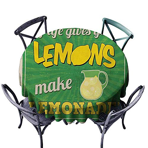 VIVIDX Stain Round Tablecloth,Quote,Vintage Pop Art Advertising Design If Life Gives You Lemon Make Lemonade,Party Decorations Table Cover Cloth,50 INCH,Green Yellow and Tan]()