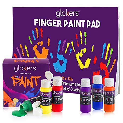"glokers Kids Finger Paint Set - 6 Non-Toxic Washable Kids Paint, 11x17"" Finger Paint Pad with 50 Sheets"